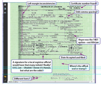 Mara Zebest analysis of Obamba 'birth certificate'