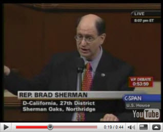 Rep. Brad Sherman (D-ca) discloses threats made to members of Congress that martial law would be declared if Congress did not pass the Bush Administration's demand for a $700 billion bank bailout during the final days of George Bush's occupation of the White House as president.
